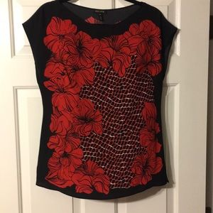 Escada Red & black floral & chain patterned blouse